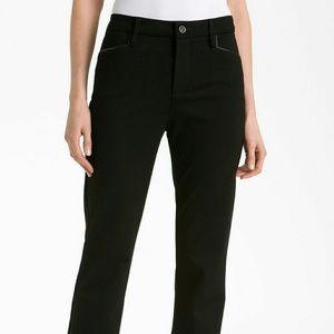 NYDJ Ryan Faux Leather Trim Ponte Straight Pant Black Size 4